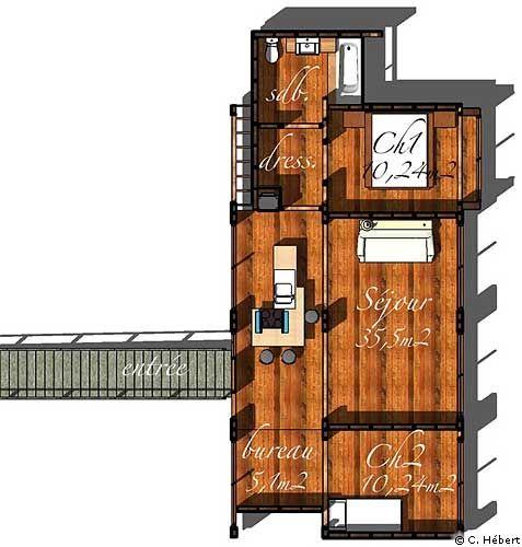 Plan de maison une maison d 39 architecte euros for Maison neuve pour 80000 euros