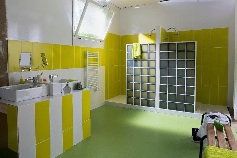 salle de bains craquez pour les briques de verre. Black Bedroom Furniture Sets. Home Design Ideas