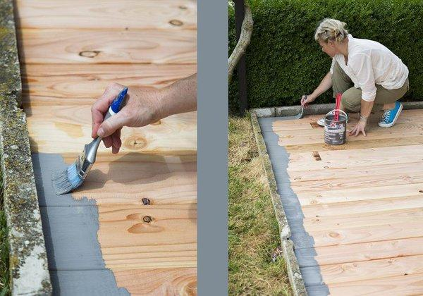 conseils suivre pour repeindre un terrasse en bois. Black Bedroom Furniture Sets. Home Design Ideas