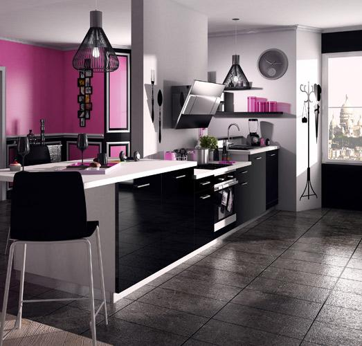 deco cuisine noir. Black Bedroom Furniture Sets. Home Design Ideas