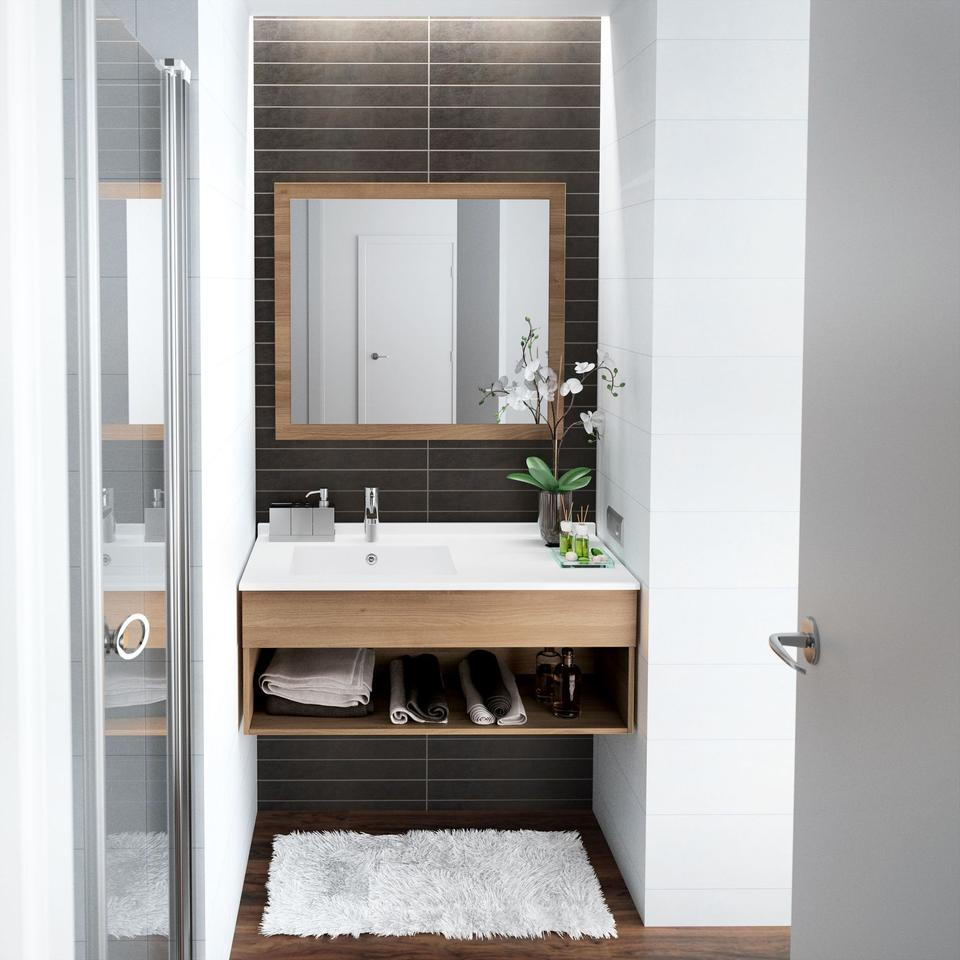 10 astuces pour am nager une petite salle de bains for Salle de bain baignoire et douche petit espace