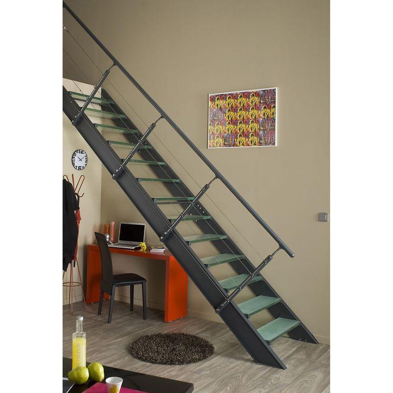 Escalier en aluminium et marche en verre Leroy Merlin